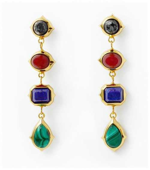 Isharya Rani Rocks long earrings with jasper, onyx, lapis, and malachite.