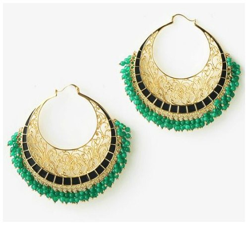 Isharya's Moon Bali hoop earrings with green enamel and green onyx beads in gold-plated filigree.