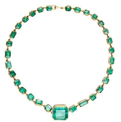 Judy Geib's Colombian emerald Rivière necklace with 66.73 cts of bezel-set Colombian emeralds in 22k gold.