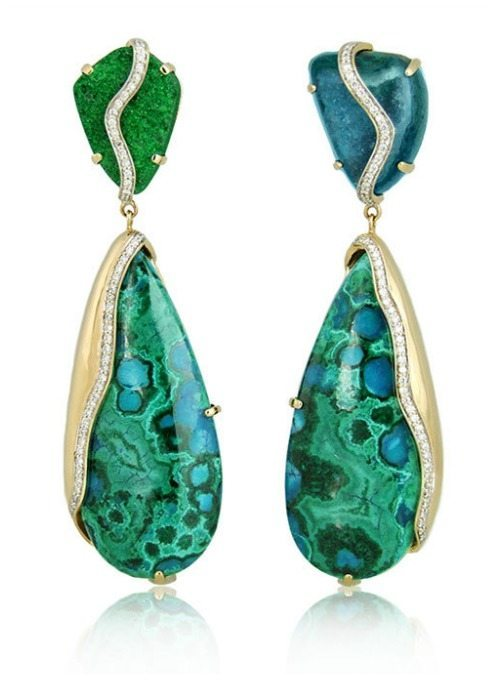 Kara Ross Petra one of a kind drop earrings in uvarovite and chrysocola.