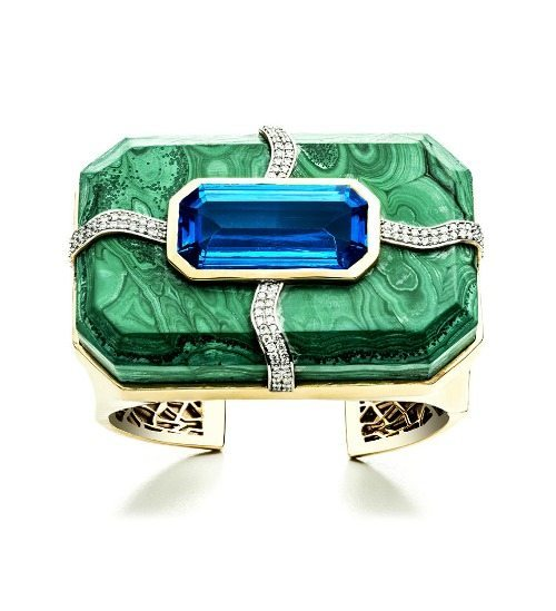 Kara Ross large Cava cuff in malachite with blue topaz inset