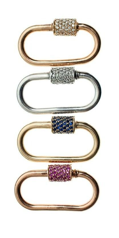 Marla Aaron's medium locks in gold with diamonds or sapphires.