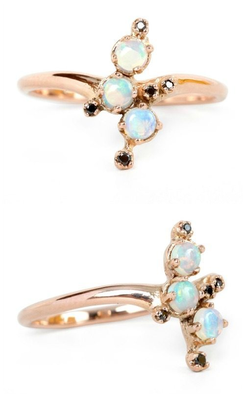 N+A Black Magic opal ring with opals and black diamonds in 14k gold.