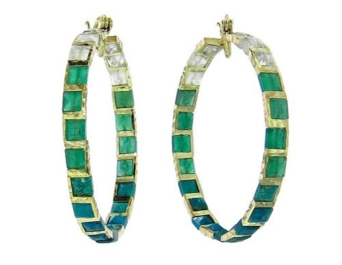 Nak Armstrong mosaic earrings with emeralds, chrysocolla, and rainbow moonstone in 18k gold