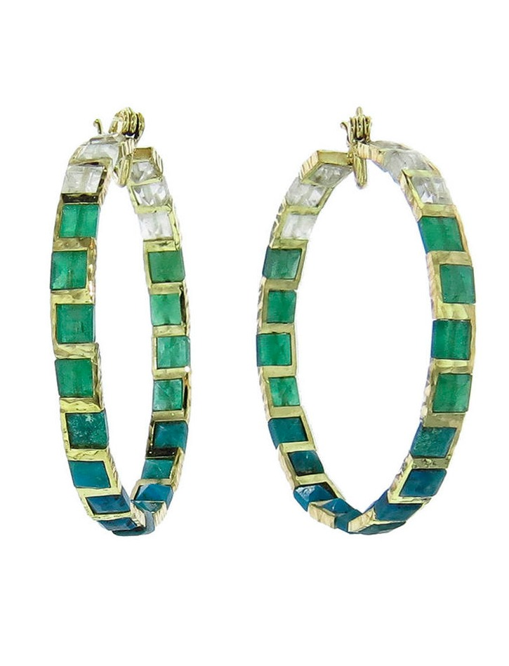 Nak Armstrong's mosaic earrings with emeralds, chrysocolla, and rainbow moonstone in 18k gold