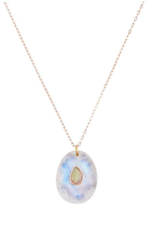 Pascale Monvoisin moonstone and opal Orso rose gold necklace.