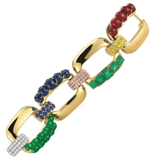 Seaman Schepps emerald, ruby, sapphire, and diamond gold link bracelet
