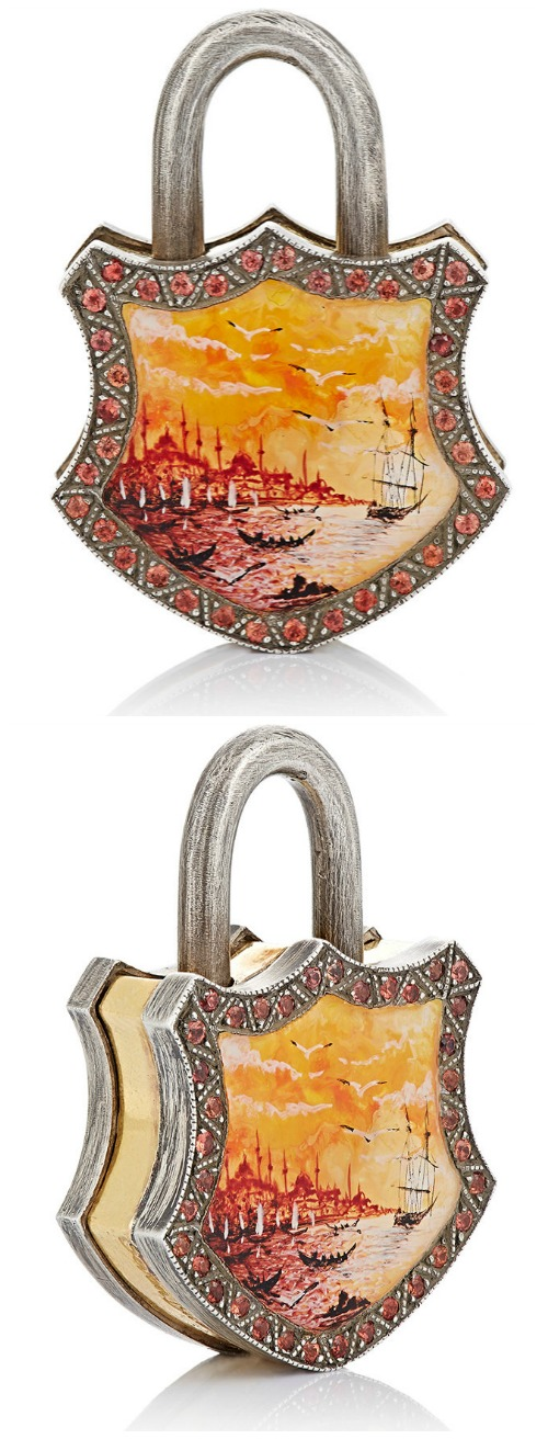 Sevan Biçakçi painted seascape padlock with orange sapphires in silver and gold.