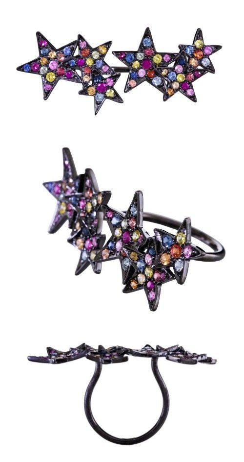 SheBee Gem colorful sapphire multi star ring