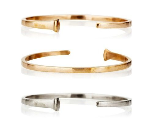Suz Somersall nail cuff in silver, rose gold, or yellow gold.