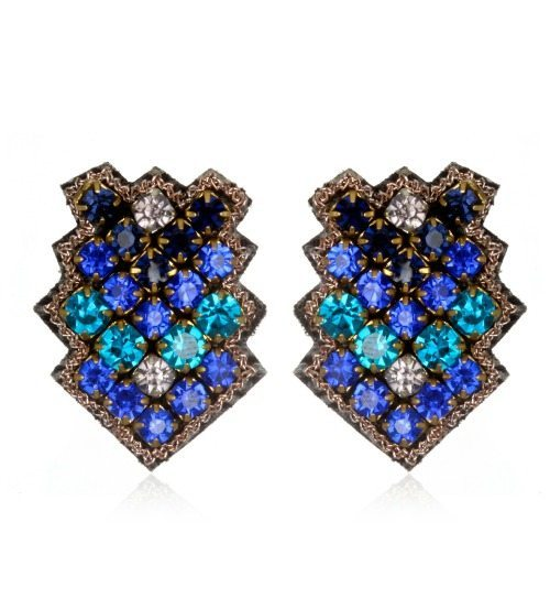 Suzanna Dai Zocalo button earrings in cobalt and navy.
