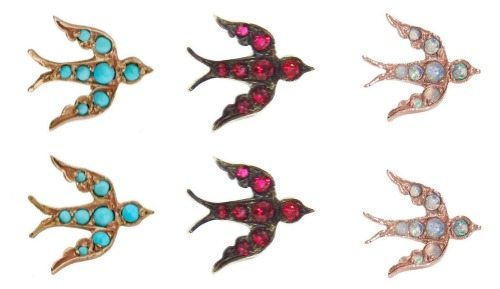 The Blackbird and the Snow gemstone bird studs with opals, rubies, or turquoise.