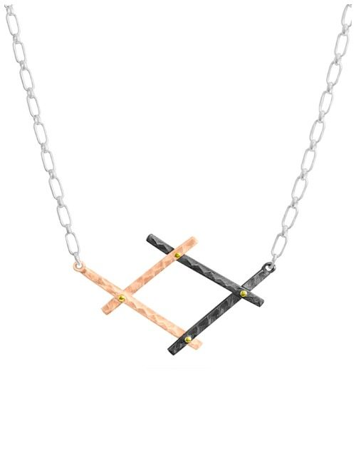 The Dana Bronfman Diana necklace in 18k rose gold with black rhodium and yellow gold