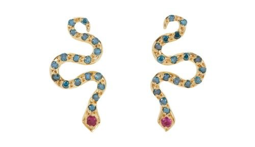 The Ileana Makri Little Snake Studs in gold with blue diamonds and rubies.