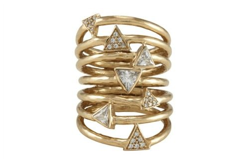 The Melinda Maria Taryn ring, featuring white cz crystals in a 14k gold plated design. Packs a serious punch for the price point.