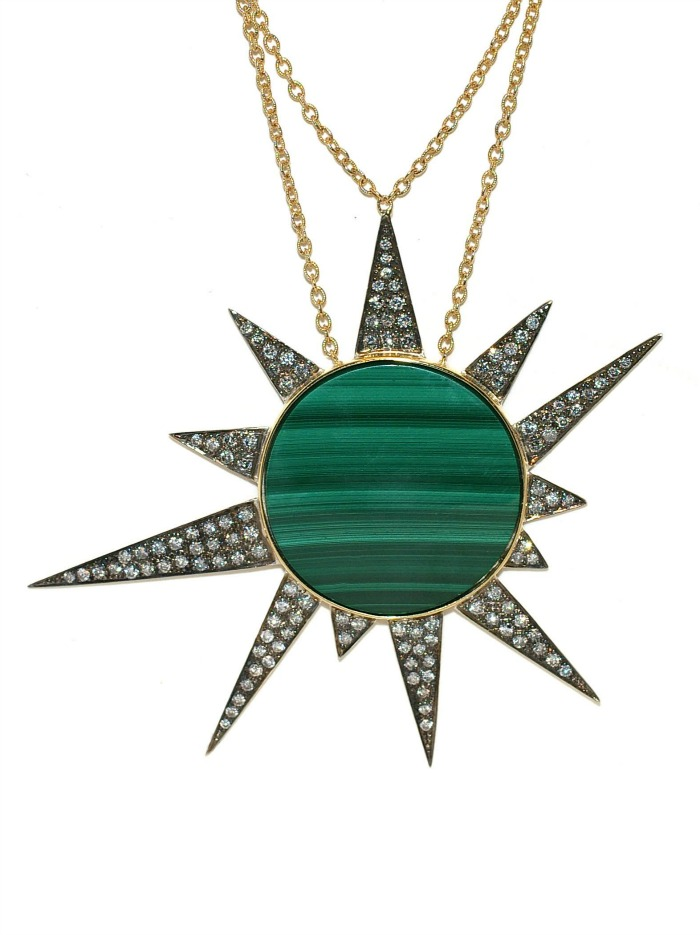 The Star Machine necklace by Unhada with malachite and diamonds set in silver.