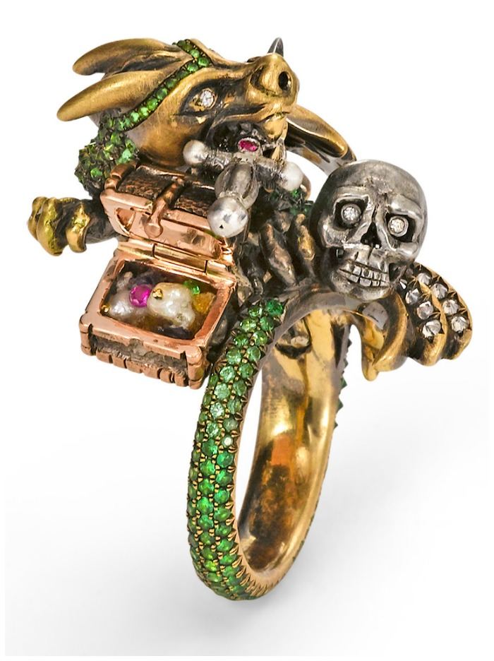 The Wendy Brandes Dragon and Knight Maneater ring with open rose gold treasure chest.