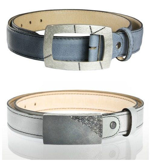 Two Todd Reed leather belts with buckles set with white and colored diamonds.