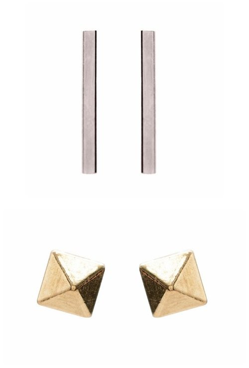 Two beautifully simple pairs of Zoe Chicco earrings white gold bar studs or yellow gold pyramid studs.