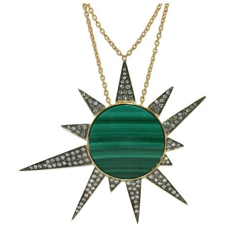 Unhada's Star Machine necklace with malachite and diamonds set in silver.