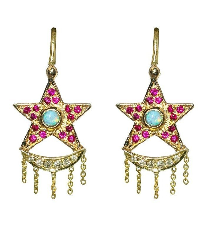 Unhada's Xiao star earrings with rubies, diamonds. and opals set in 18k.