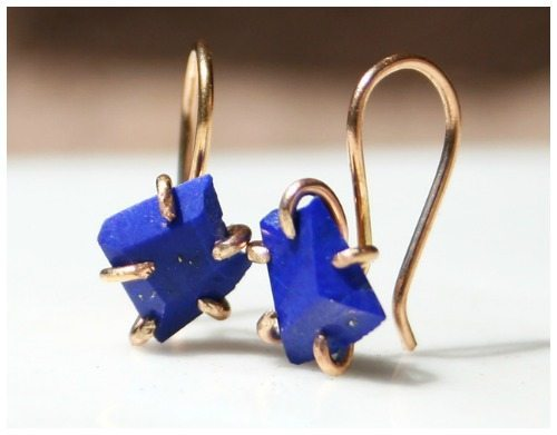 Varience Objects' lapis and gold earrings.