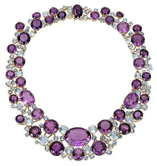 Verdura amethyst and aquamarine necklace in gold.