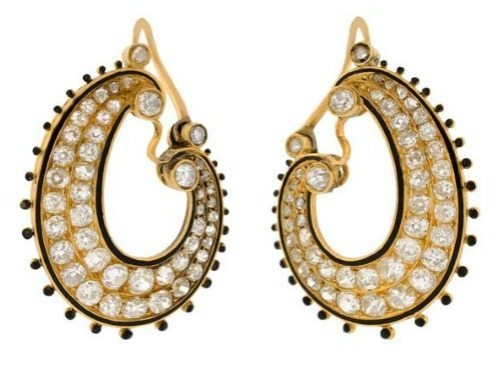 Victorian 15k yellow gold, diamond, and black enamel earrings. Circa 1880. At A Brandt and Son.