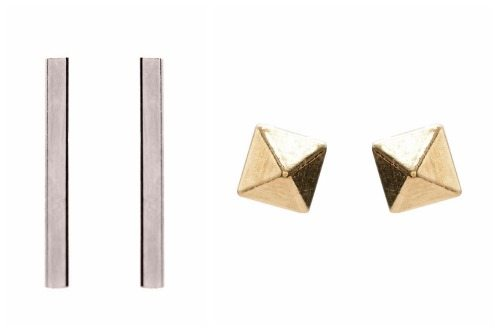 Zoe Chicco white gold bar stud earrings and yellow gold small pyramid earrings.