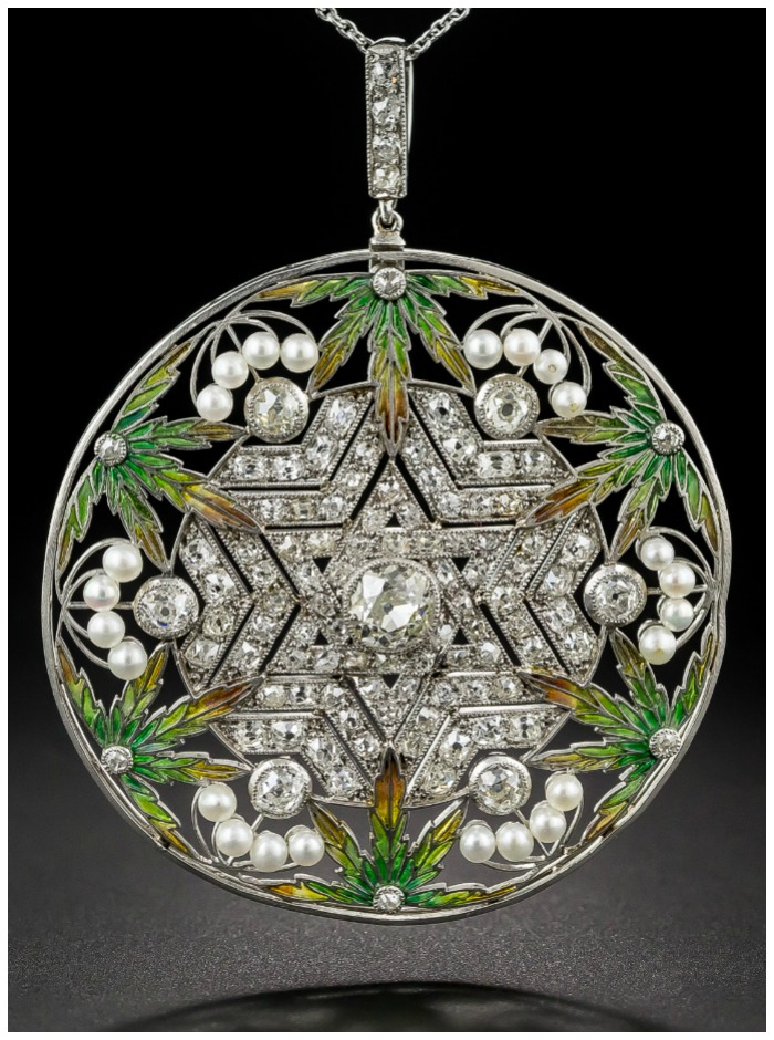 An unusual antique Belle Epoque plique-a-jour enamel and diamond pendant with a Star of David.