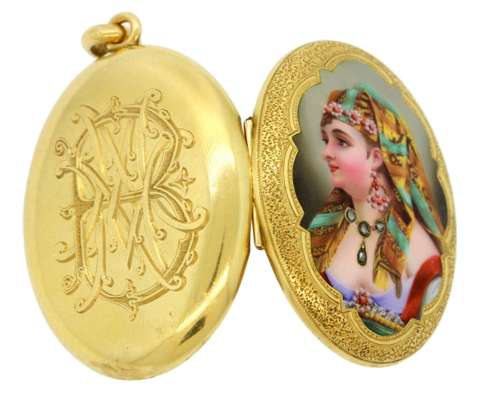 Antique French Egyptian Revival locket with amazing portrait featuring real diamonds. Victorian era, circa 1800.