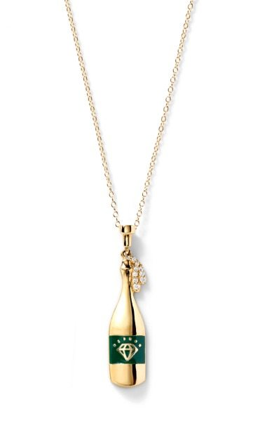 Champagne bottle necklace by Alison Lou. In gold with diamonds.