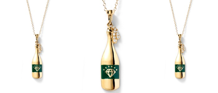 Champagne bottle necklace in gold with diamonds by Alison Lou. At Stone and Strand.