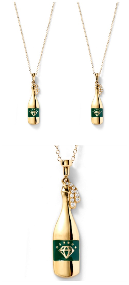 The fabulous champagne bottle necklace by Alison Lou; in gold with diamonds. At Stone and Strand.