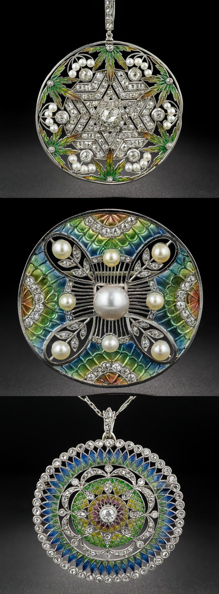 Three antique plique-a-jour enamel beauties from Lang Antiques.