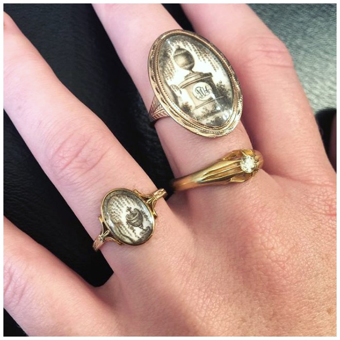 Two beautiful Georgian sepia mourning rings from Antique Animal Jewelry.