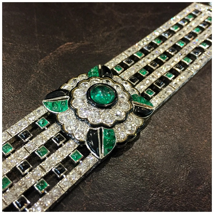 A beautiful Mauboussin Art Deco emerald, onyx, and diamond bracelet. At Jogani.