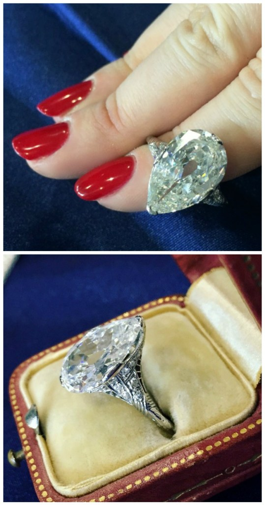 A glorious antique engagement ring from Jogani with a 5 carat pear cut diamond in a filigree-adorned setting.