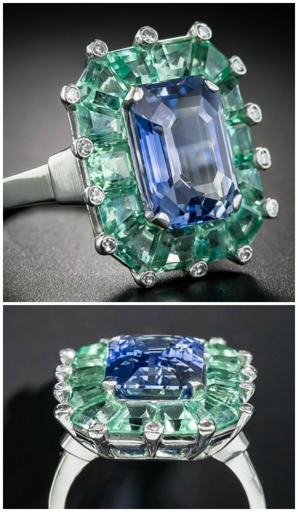 A magnificent Art Deco sapphire and green beryl cocktail ring at Lang Antiques. Circa 1930's-40's.