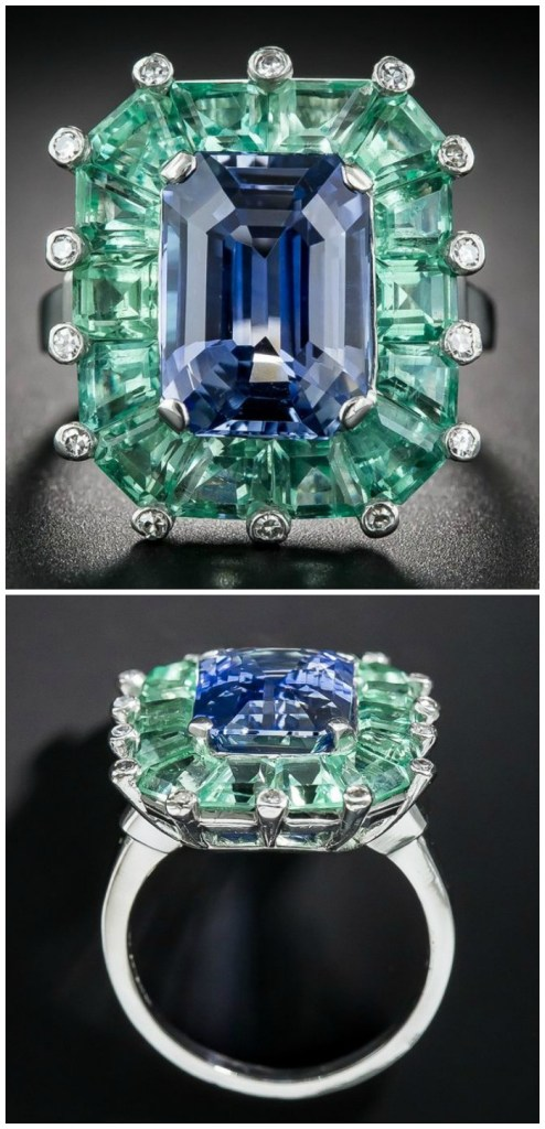 A magnificent antique Art Deco sapphire and green beryl cocktail ring at Lang Antiques. Circa 1930's-40's.
