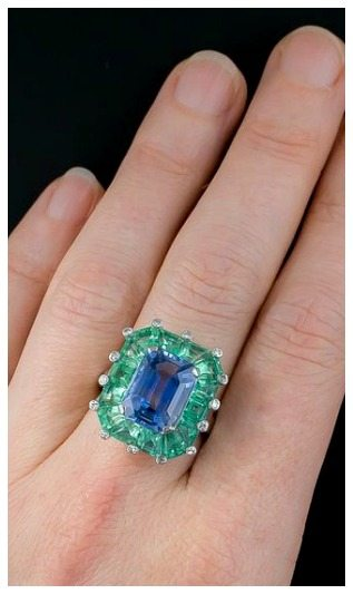A magnificent antique sapphire and green beryl cocktail ring at Lang Antiques. Art Deco, circa 1930s-1940s.