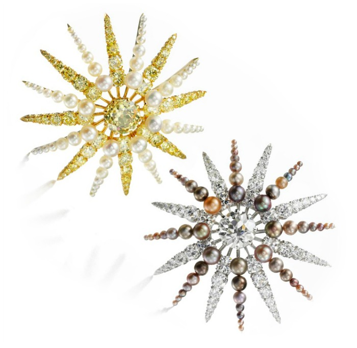 A pair of Bhagat earrings in the shape of starbursts, featuring diamonds and pearls alongside colored diamonds and colored pearls.