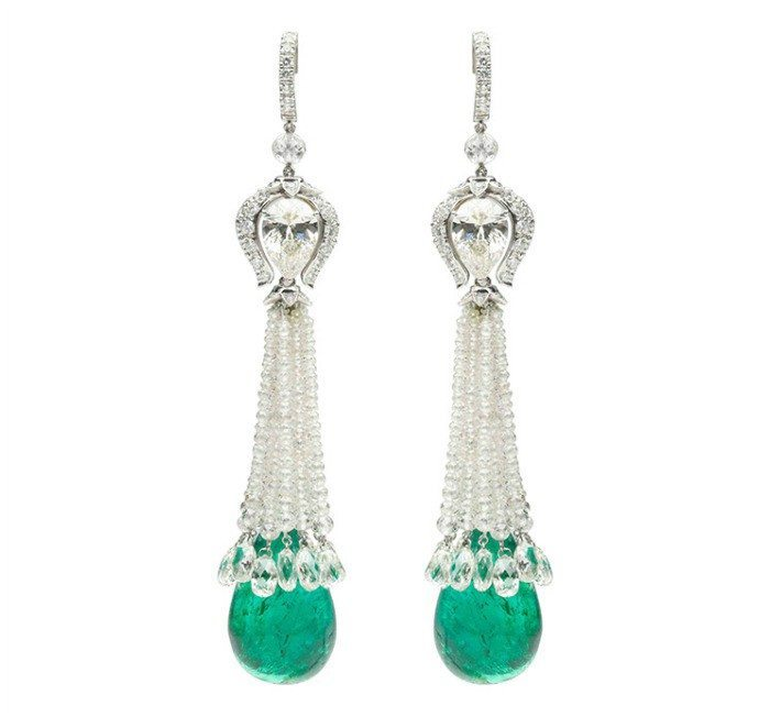 A pair of emerald and diamond earring by Viren Bhagat.