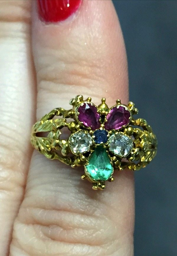 A spectacular Georgian pansy ring from Lowther Antiques. Incredible detail.