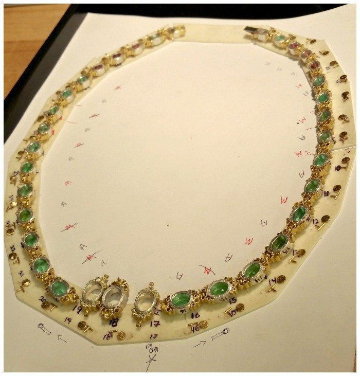 A tourmaline and diamond necklace in the making at the Todd Reed studio.