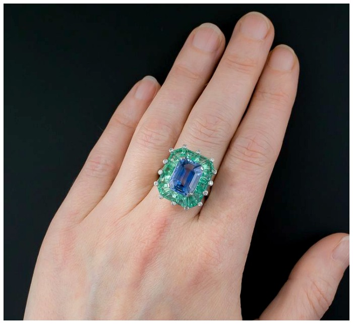 A truly magnificent sapphire and green beryl cocktail ring at Lang Antiques. Art Deco era, circa 1930's-40's.