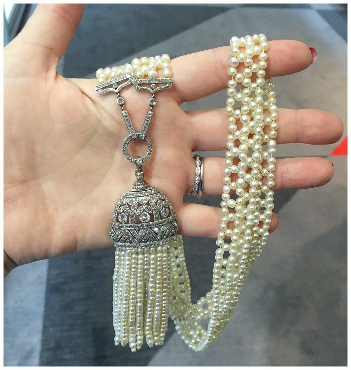 An incredible Art Deco era pearl and diamond sautoir. At Spicer Warin.