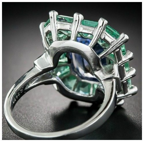 Back view of a magnificent sapphire and green beryl cocktail ring at Lang Antiques. Art Deco, circa 1930's-40's.