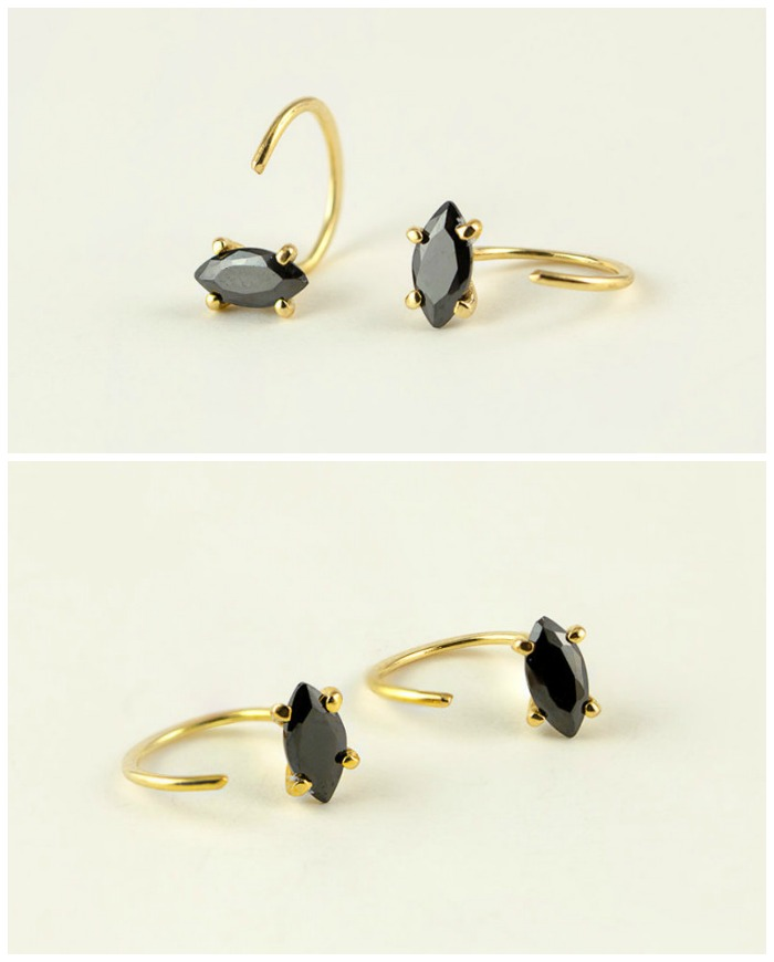 Black zircon hug hoop earrings in yellow gold-plated. Also available in rose or white gold-plated.