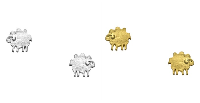 Blu Bijoux sheep tiny post earrings in gold or silver plated.